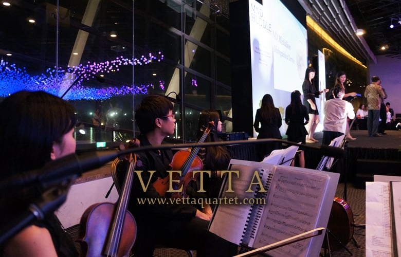 Music quartet - Gardens by the bay, flower field - Singapore performance