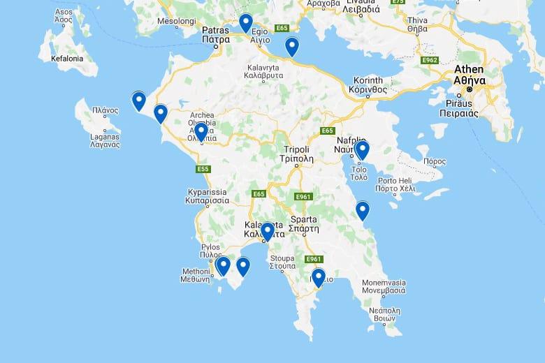 Campingplätze Peloponnes - ganzjährig geöffnet