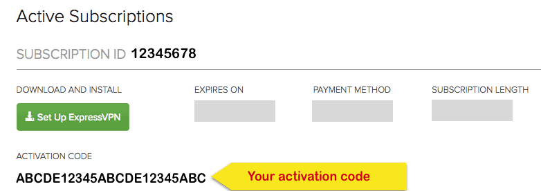 your activation code