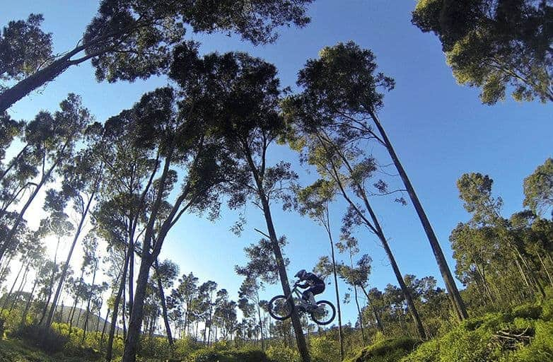 mountain biking trail jump