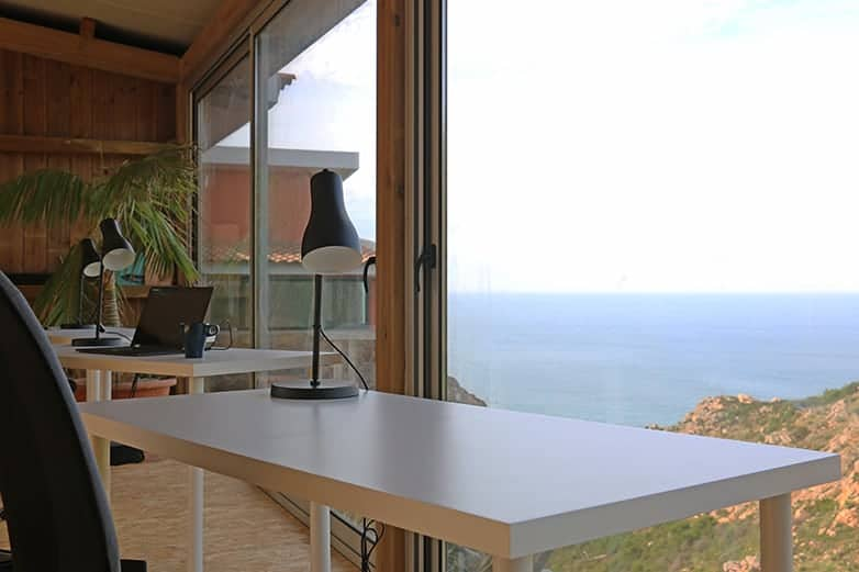 desk with ocean view