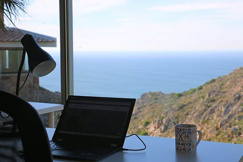 cowork desk with seaview