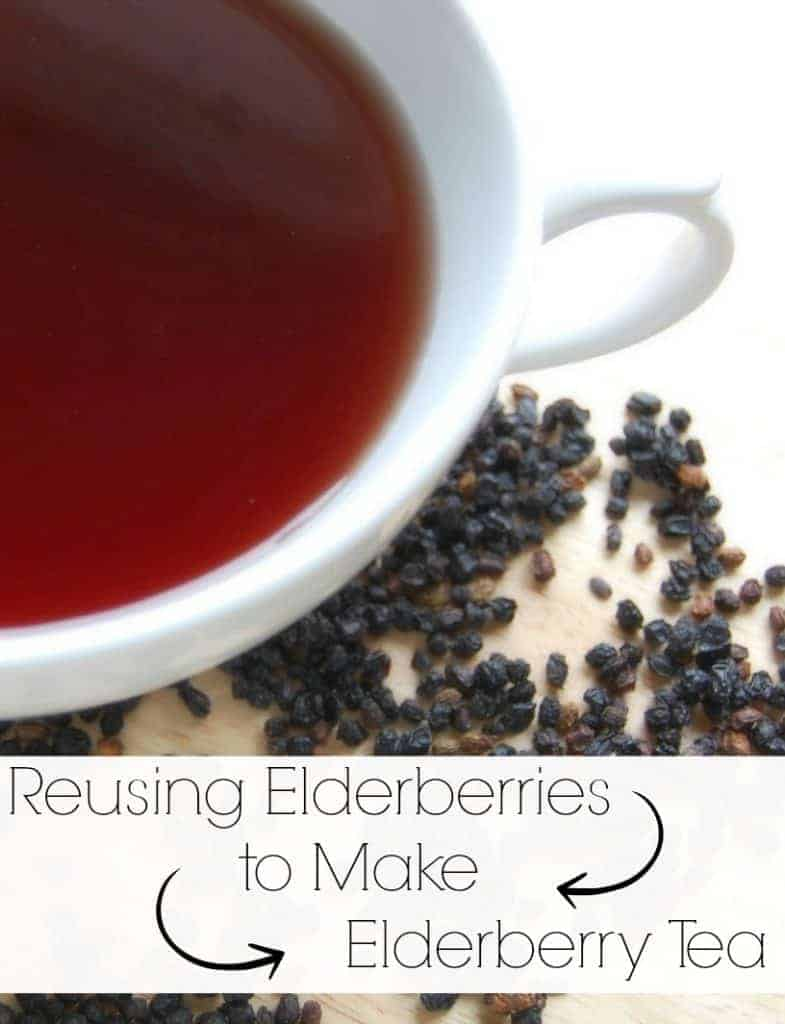 After making a batch of elderberry syrup, don't just throw out those used elderberries! Find out about reusing elderberries to make elderberry tea! #elderberry #elderberrytea #reusing #naturalremedies #colds #flu