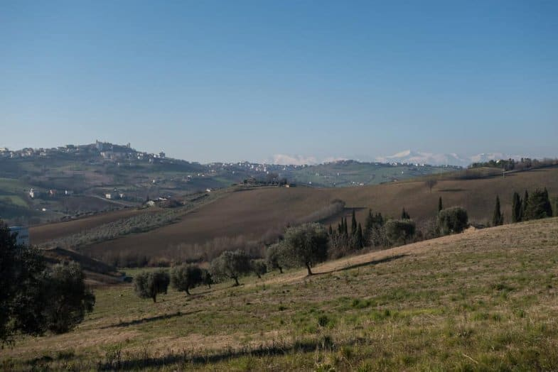From Montegranaro you can see snowy mountains inland.