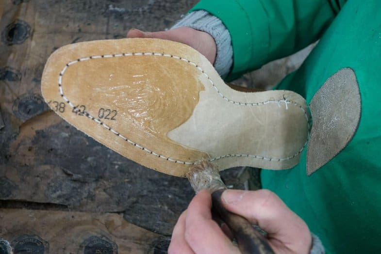 Preparations for the outsole to be attached.