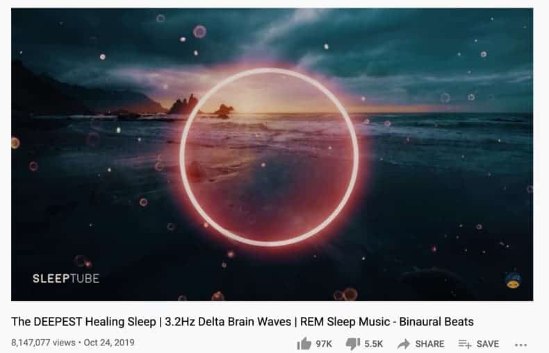 A screenshot of a YouTube channel with brainwave music slow delta waves to reduce anxiety and sleep better.