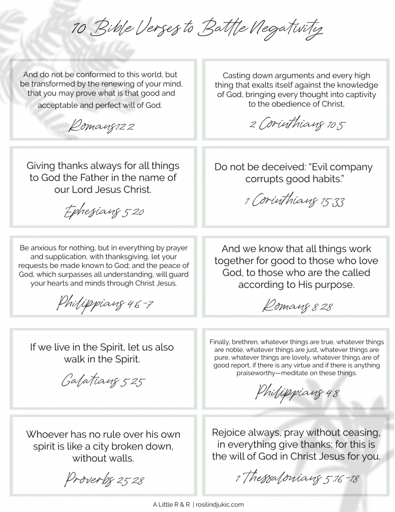 Begin renewing your mind and taking every thought captive to the knowledge of Jesus Christ with these 10 Bible verses to battle negativity. #alittlerandr #Bibleverses #Bible #JesusChrist #onlineBiblestudy