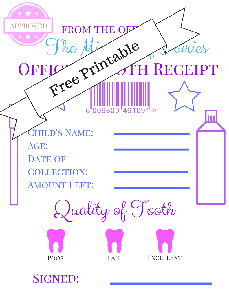 free tooth fairy receipt printable