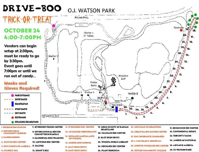 drive through trick or treat map for watson park 2020
