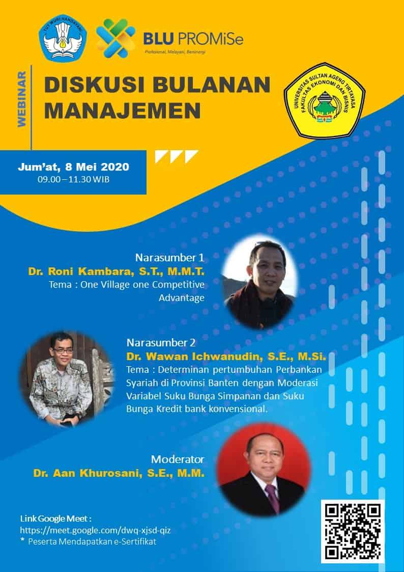 Diskusi Bulanan Manajemen Jurusan Manajemen Feb Untirta 8 Mei 2020 Fakultas Ekonomi Dan Bisnis Untirta