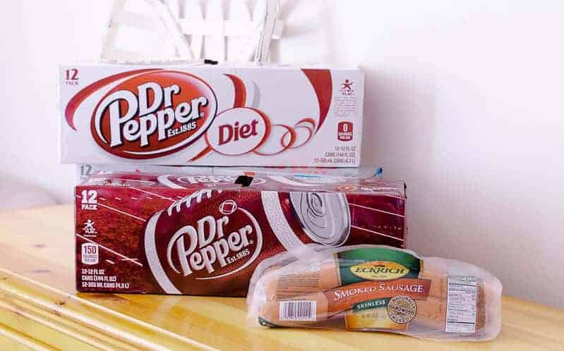 3 cases of Dr Pepper - one Diet, one regular, and one diet cheery with two packages of Eckrich smoked sausage - homemade sausage and bean soup with rice in slow cooker recipe