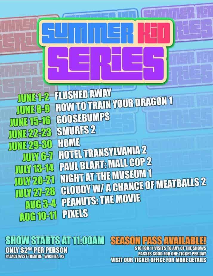 Summer kids movies schedule at the Palace Theater
