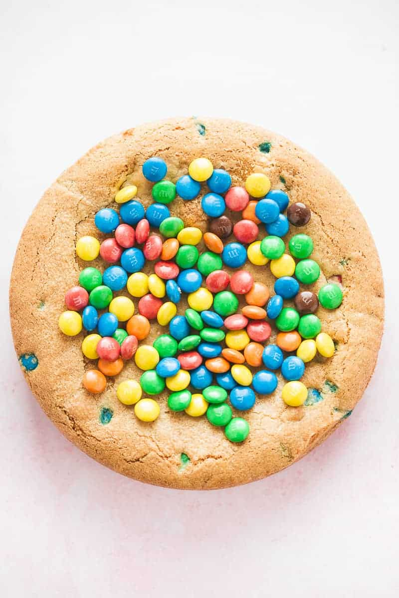 A giant cookie pie made from M&Ms.