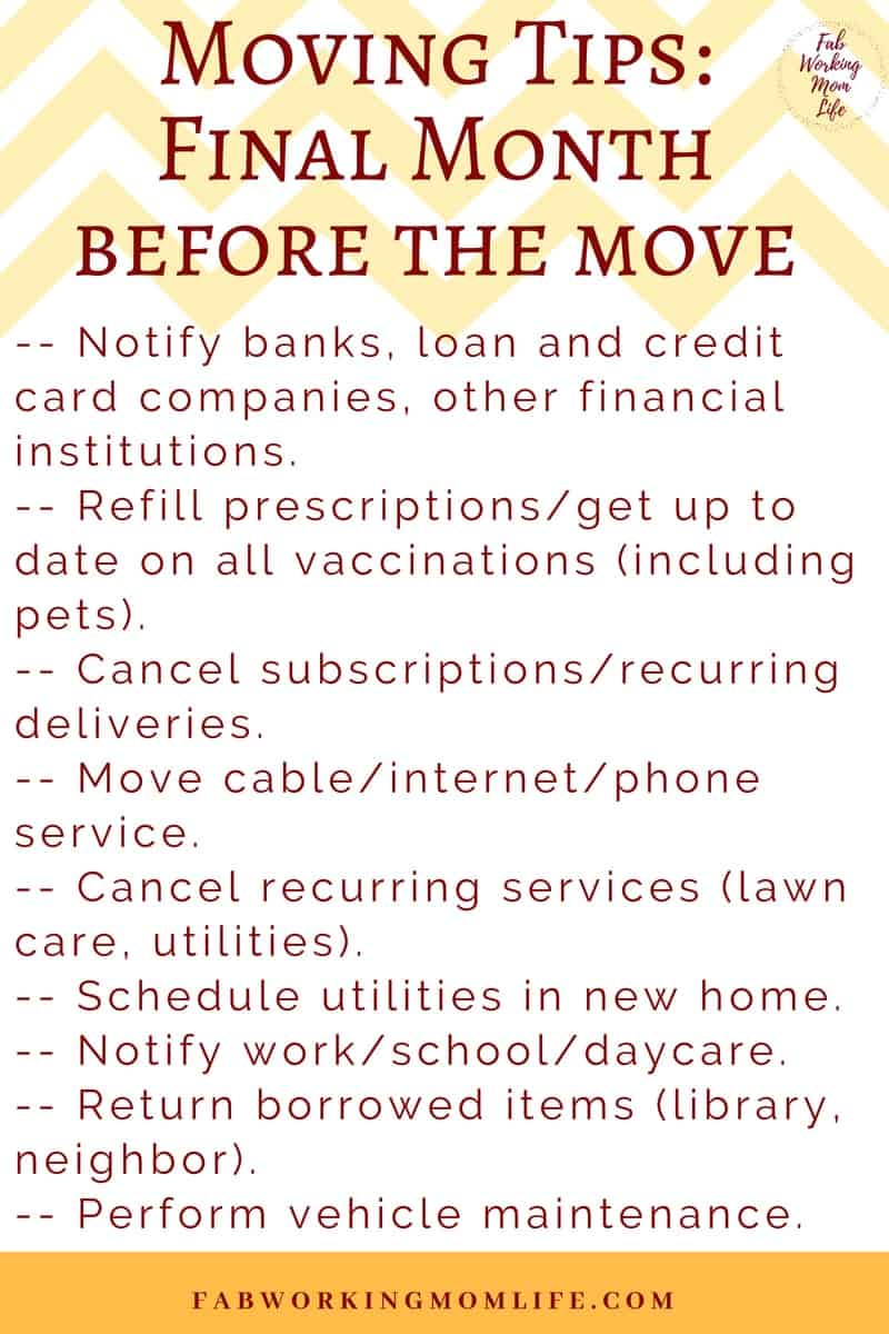 Moving Tips - final month before the moveor PCS | Fab Working Mom Life #moving #military #packinglist #movingtips
