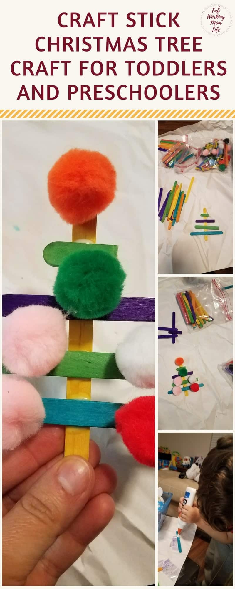 Craft Stick Christmas Tree and other Simple Winter Crafts your Toddlers and Preschoolers will Love to do