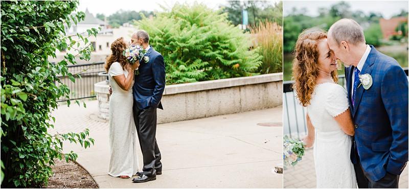 don't look, wedding, covid-19 wedding, social distancing wedding, Chicago wedding photographer, posing bride, bride showing her flowers, bride with flowers, bridal hair, hair for bride, intimate wedding