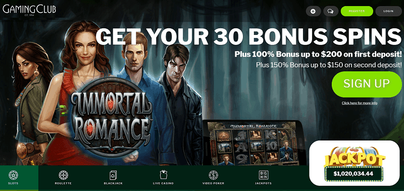 Get your 30 free spins on Immortal Romance