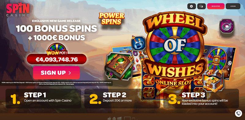 100 Bonus Spins on Wheel of Wishes Jackpot