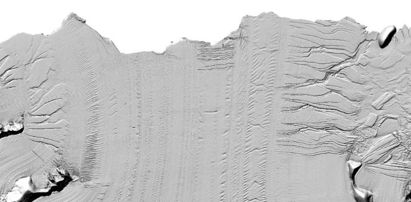 Subtle detail in the Larsen C Ice Shelf. The large crack in the upper right is the beginning of the formation of Iceberg A-68. North is to the left.