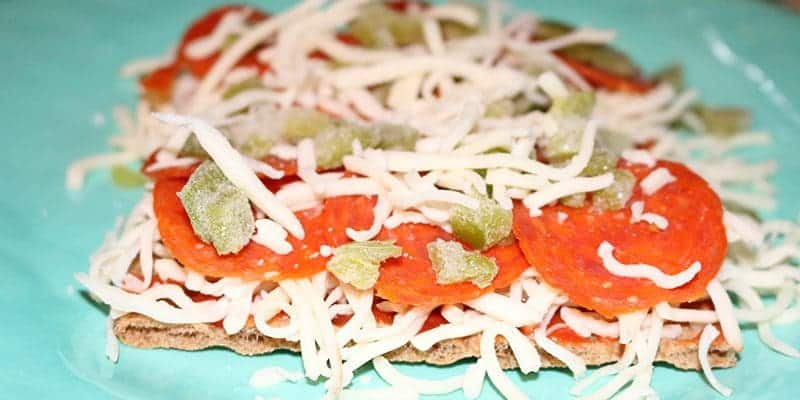 Wasa Crackers with Pizza Toppings ready to bake - THM - Trim Healthy Mama Easy Meals