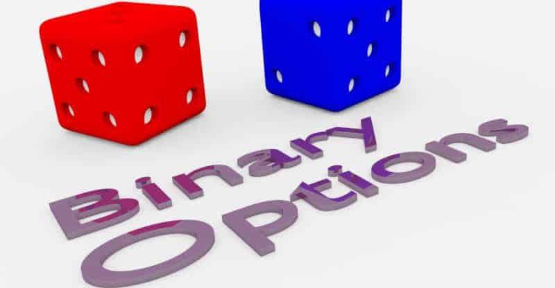 """3D illustration of """"Binary Options"""" title written in embossed letters with two dice."""
