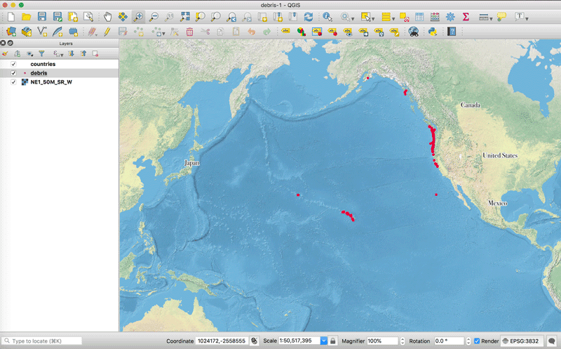 Screenshot showing the reprojected map with a Pacific Ocean centric view in QGIS.
