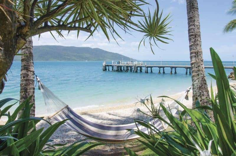 Daydream Island Resort and Spa private jetty and hammock on the beach