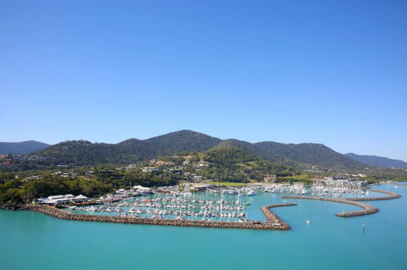 Aerial of Coral Sea Marina in Airlie Beach