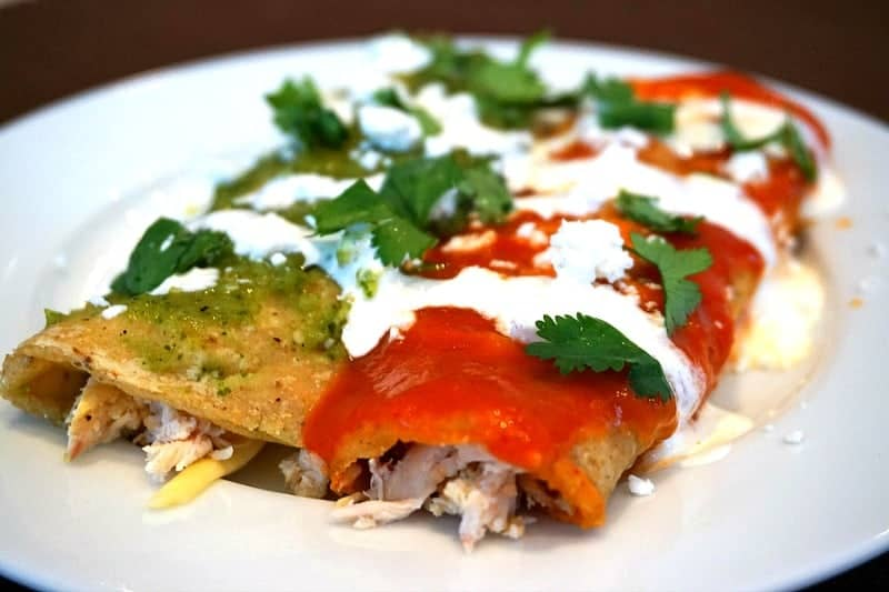 red green chicken enchiladas