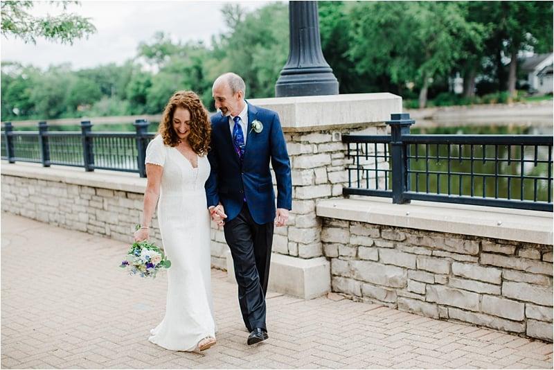bride and groom walking together, wedding, covid-19 wedding, social distancing wedding, Bleuroot restaurant