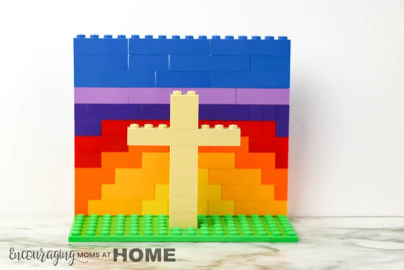 Completed rainbow LEGO Easter Cross.