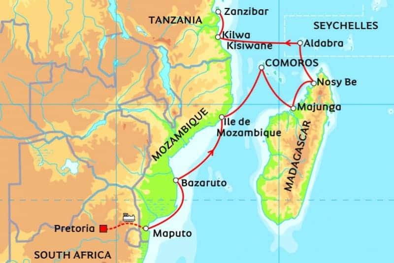 Africa Cruise 2017 from South frica (Pretoria) to Zanzibar