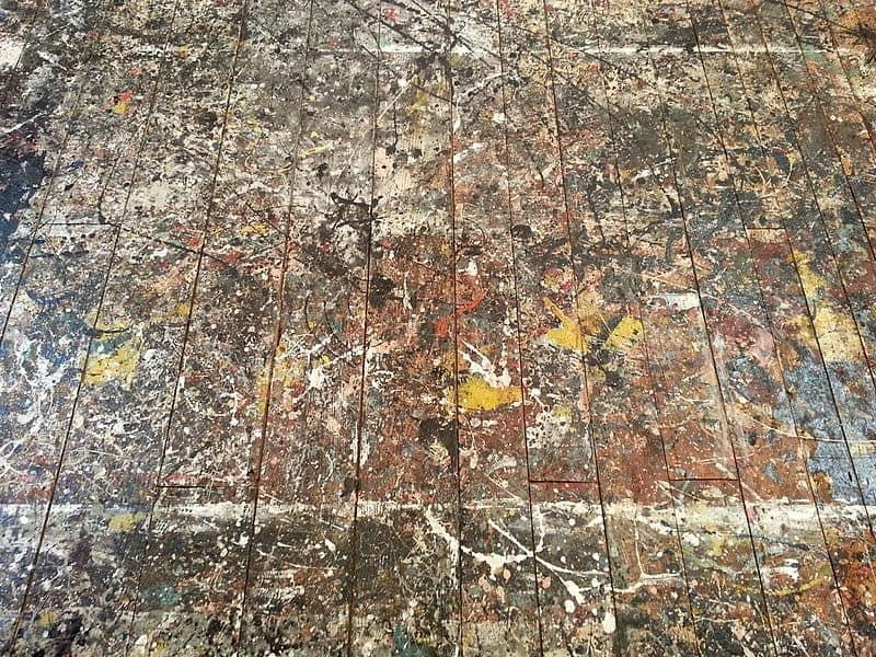 The barn floor of the Pollock-Krasner studio