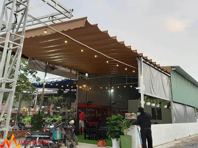 mái che quán cafe bằng bạt