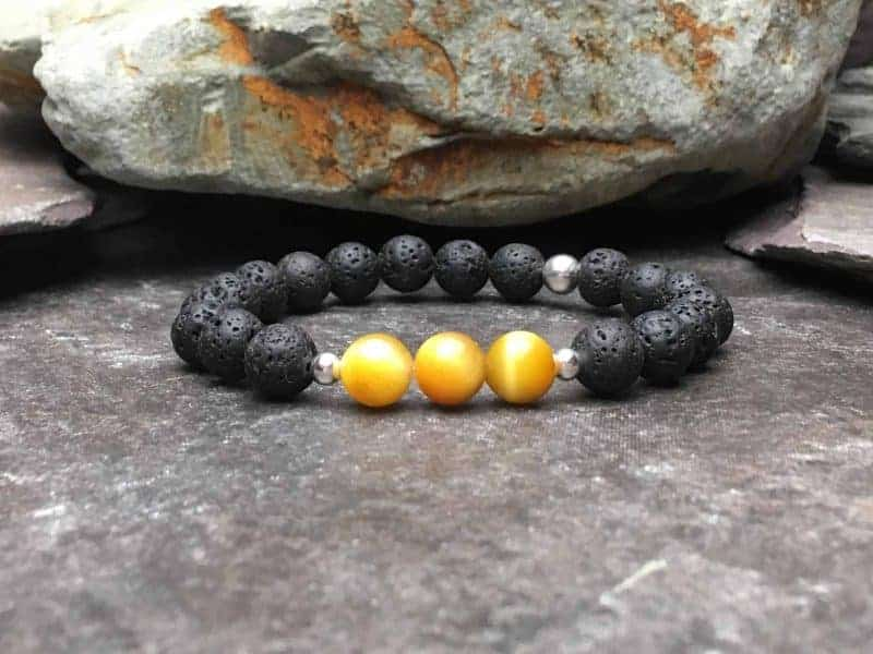 Yellow/Gold Tigers Eye and Lava Stone Diffuser Bracelet