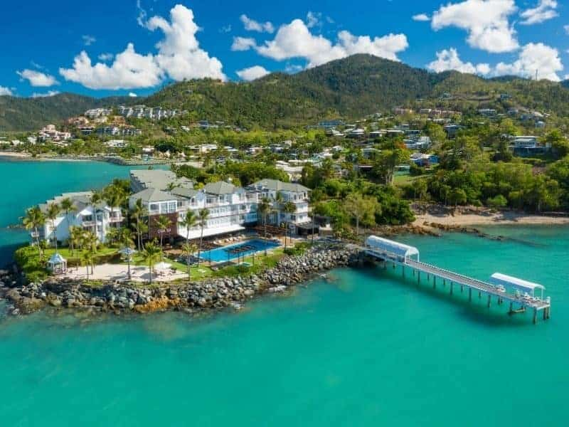 Aerial image of Coral Sea Resort Hotel in the Whitsundays