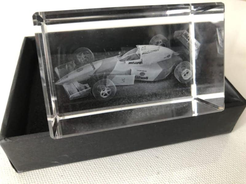 3D Crystal Paperweight with McLaren F1 Race car from early 1990's