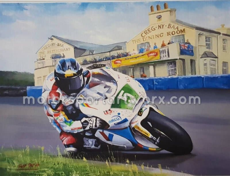 Bruce Anstey limited edition art print by Jeff Rush Motorcycle racing poster road racing poster isle of man TT poster gifts for bikers