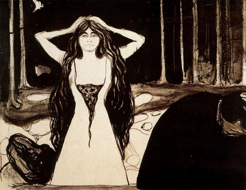 "Edvard Munch, Ashes II, Lithograph with watercolor additions, 13 15/16 x 18"" (35.4 x 45.7 cm) 1896."