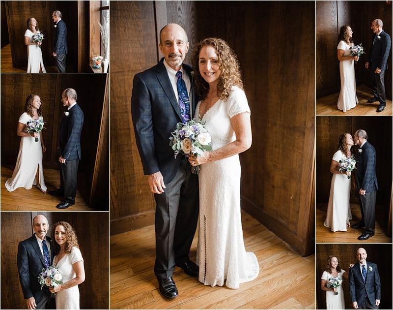 bride and groom first look Bleuroot restaurant icovid-19 wedding, social distancing wedding