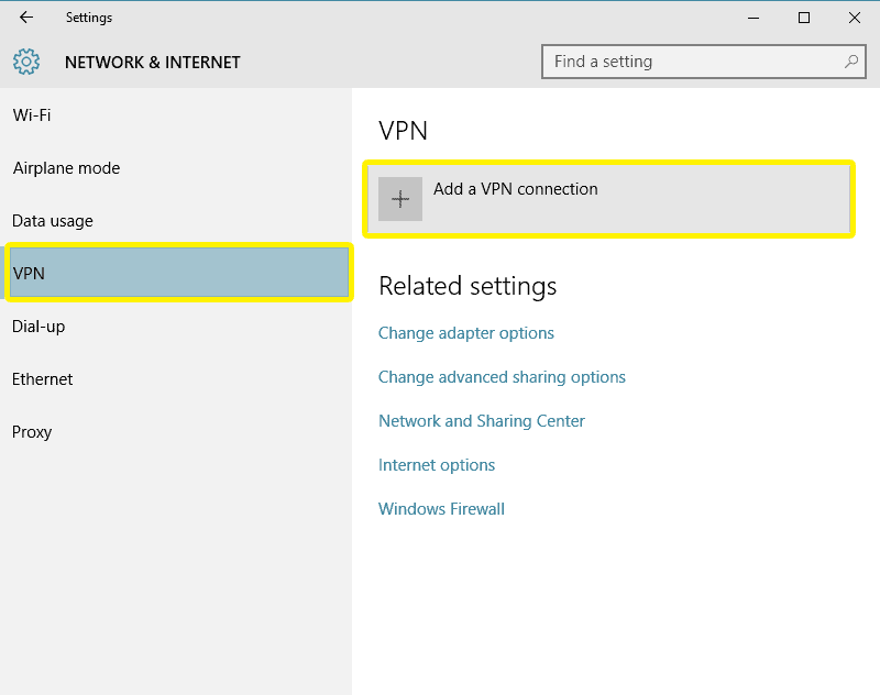 Menu Rete e internet con l'opzione Aggiungi una connessione VPN evidenziata.