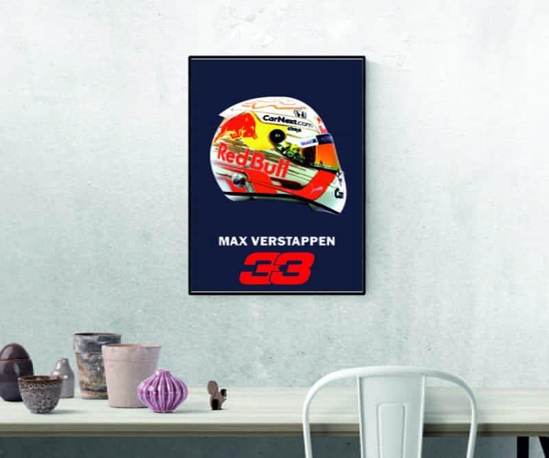 Max Verstappen wall art Print, Poster, Red Bull F1 Helmet Print