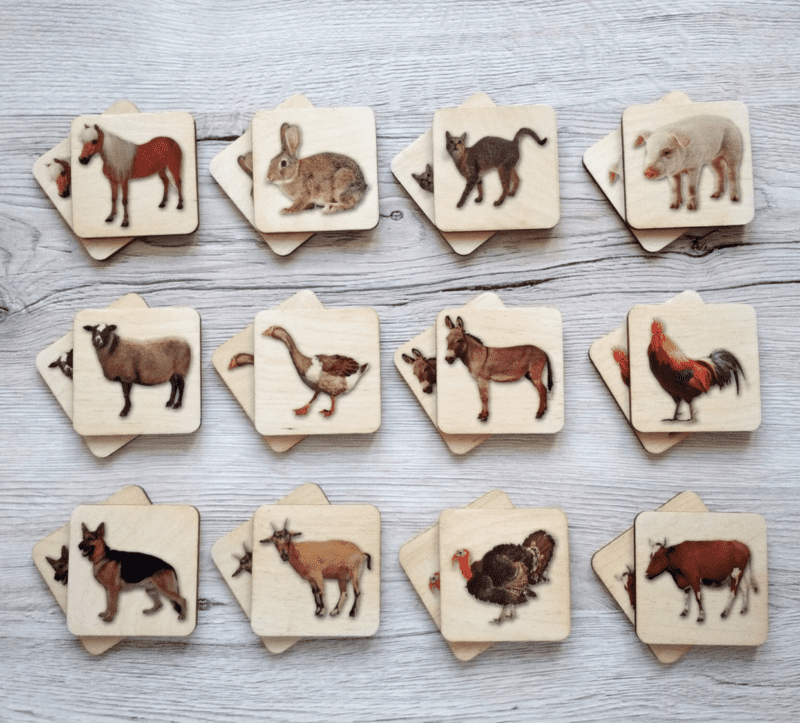preschool manipulatives game with animal pictures.