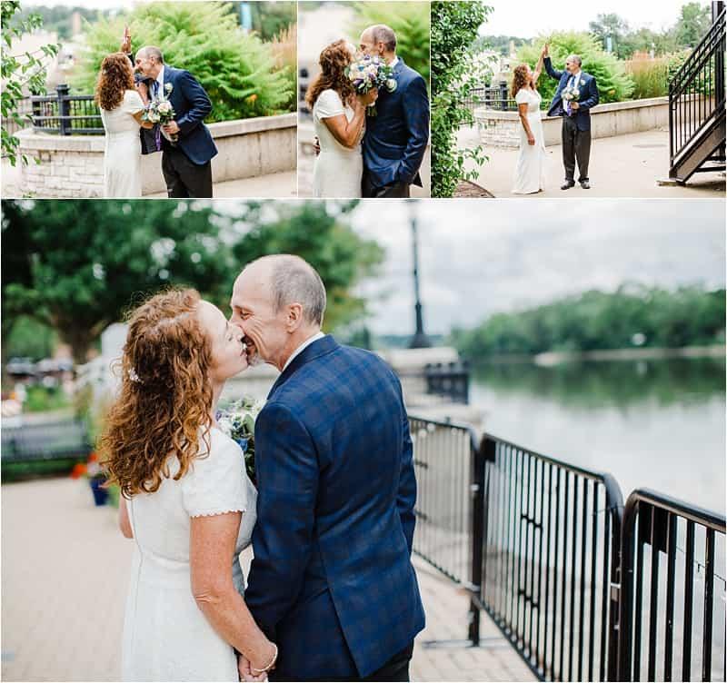 Bleuroot restaurant intimate wedding covid-19 wedding, social distancing wedding, posing wedding couples, summer wedding,