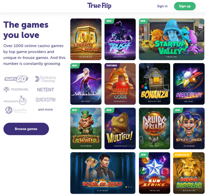 True Flip Casino Games