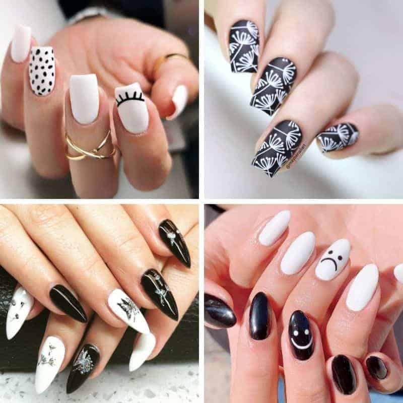 Summer Black and White Nail Design