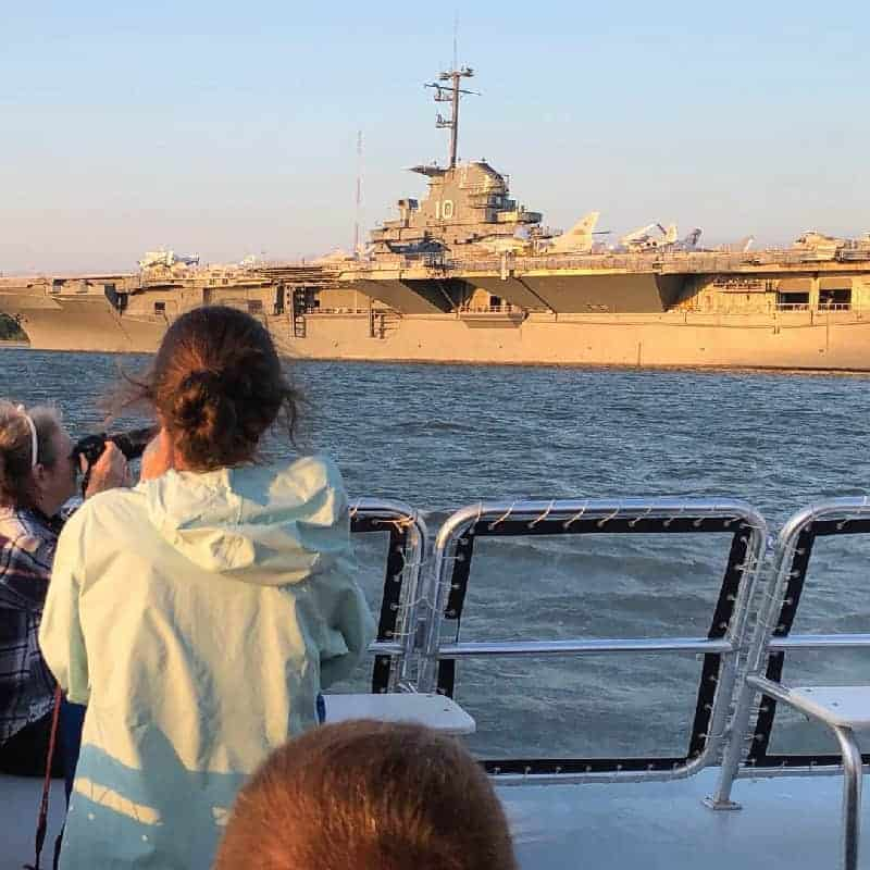 Close look at historic battle ship. Best boat tours in Charleston, SC