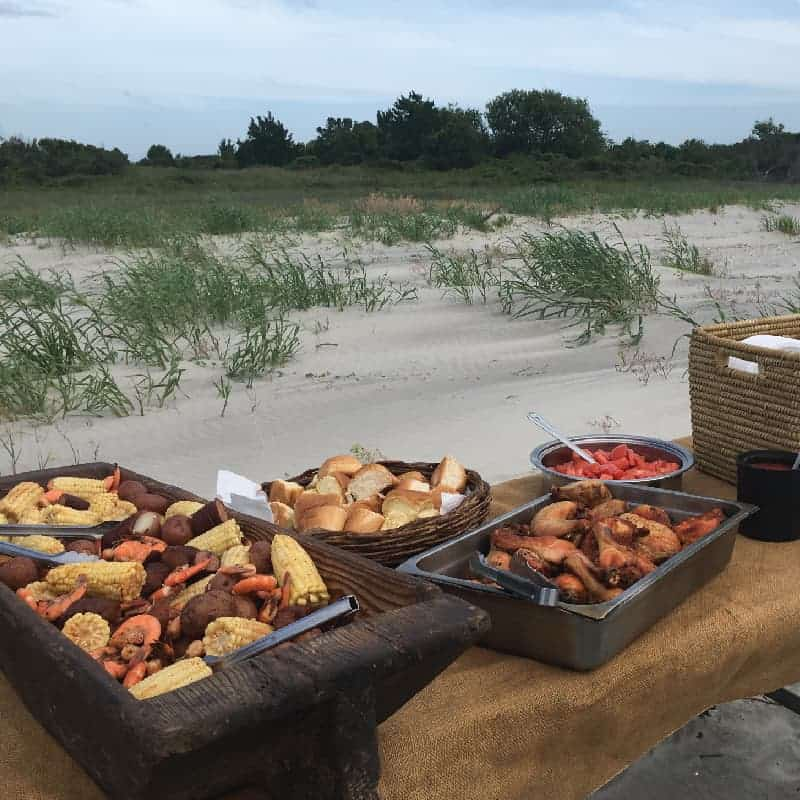 Dinner buffet on the beach. Private charter boat Charleston SC