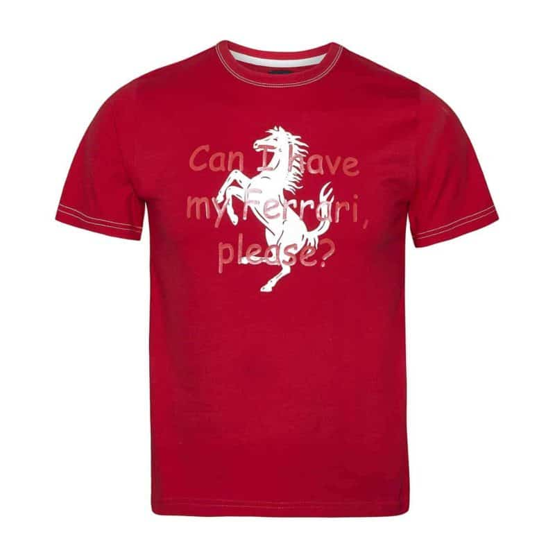 "T-SHIRT kids Formula One 1 F1 Child ""Can I have my Ferrari, please?"" Age"