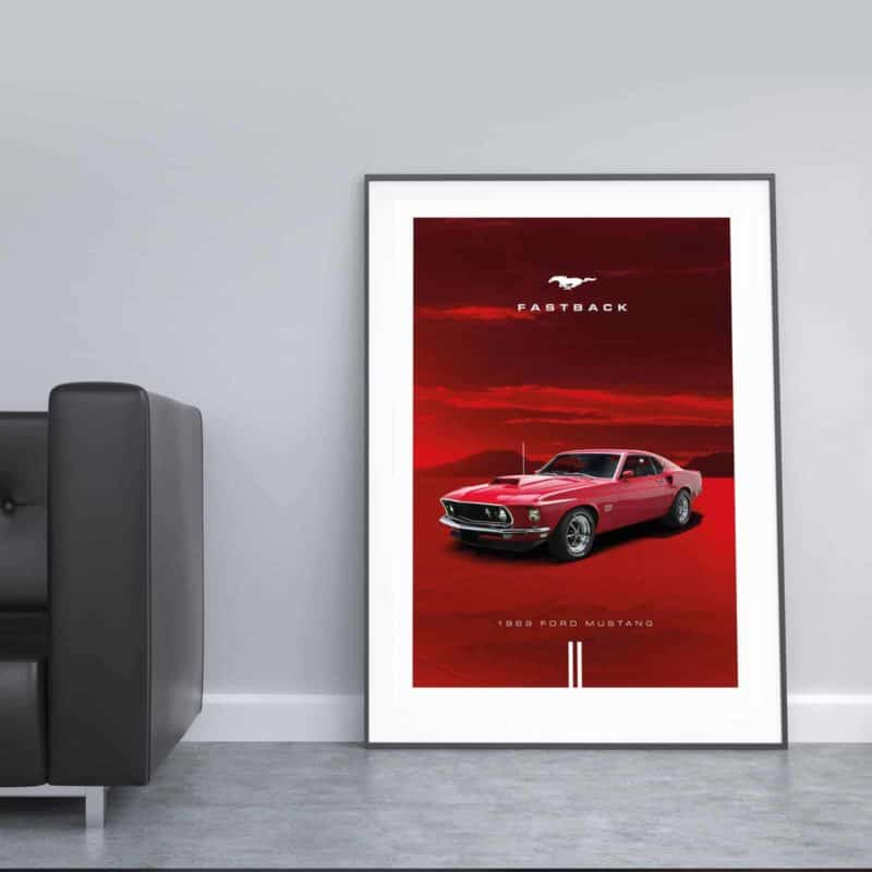 Automotive poster of Ford Mustang Fastback